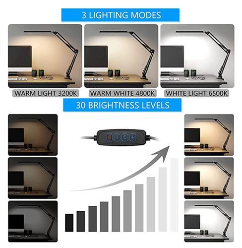 Lampara de escritorio LED con pinza de sujeción