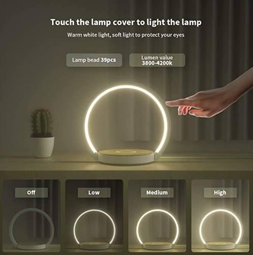 Lámpara LED de mesa con cargador inalámbrico